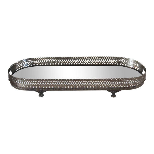 Mirrored Pewter Gallery Tray For Sale