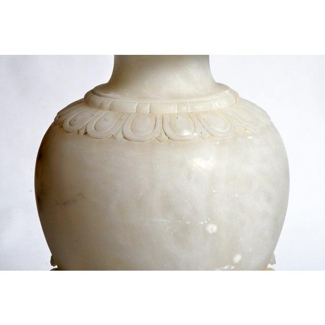 White Vintage French Alabaster Jar Lamp For Sale - Image 8 of 11