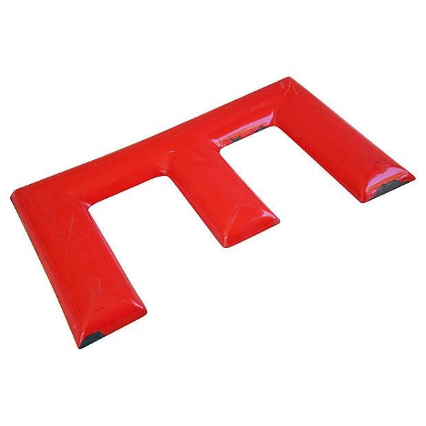 "18"" Large 1950s Red Enameled Porcelain Letter E - Image 3 of 4"