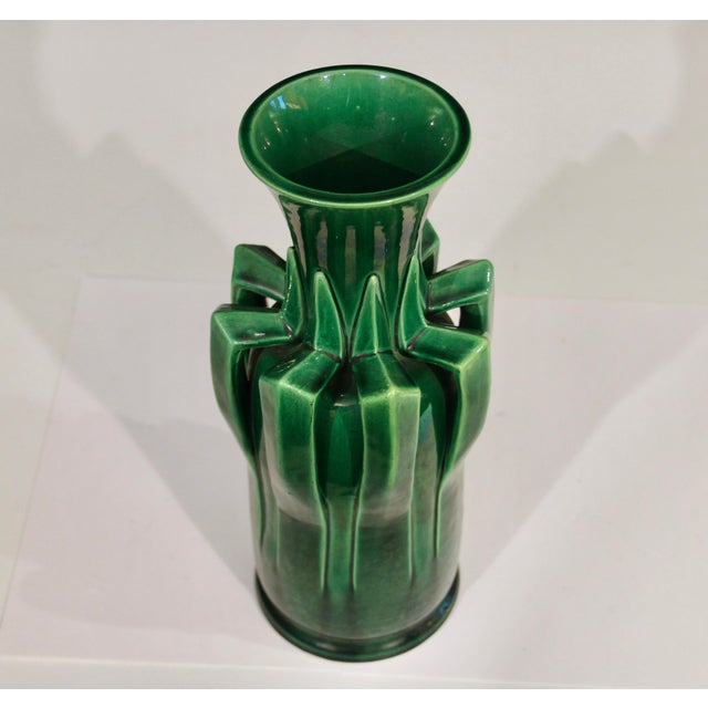 1910s Awaji Pottery Organic Arts & Crafts Petal Handle Green Monochrome Vase For Sale - Image 9 of 12