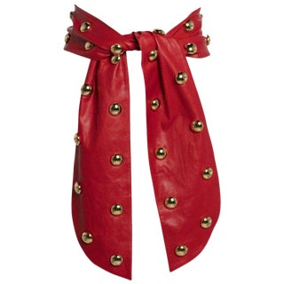 1980s Yves Saint Laurent Red Leather Gold Stud Sash Belt For Sale