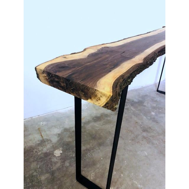 Fabulous Live Edge Black Walnut Slab Console Or Entry Table Download Free Architecture Designs Sospemadebymaigaardcom