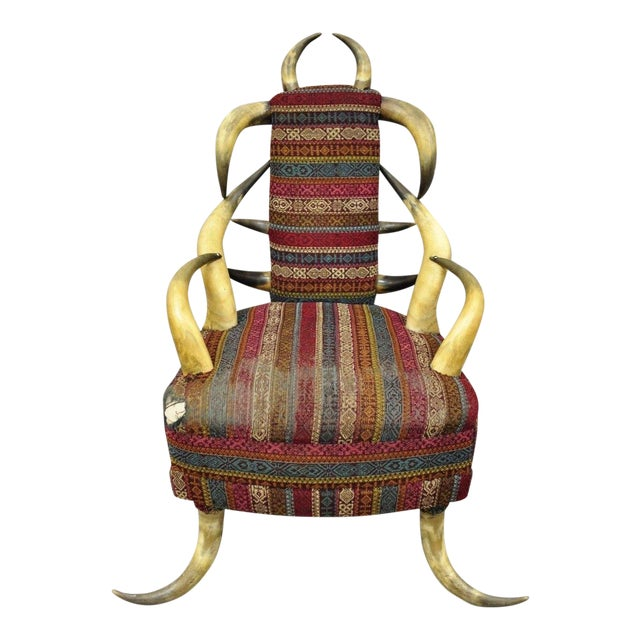 Early 20th Century Antique Upholstered Steer Horn Parlor Chair For Sale