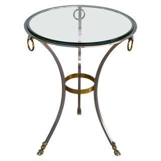 Maison Jansen Neoclassical Steel and Brass Gueridon For Sale