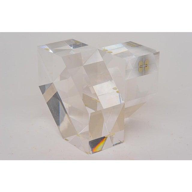 Geometric Form Lucite Sculpture For Sale - Image 11 of 11