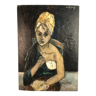 1960s Vintage Oil on Canvas Two Sided Painting For Sale