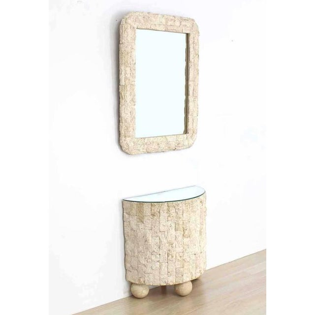 Nice Mid-Century modern decor demilune shape crushed rock tile console table with matching 26 x 2 x 36 mirror.