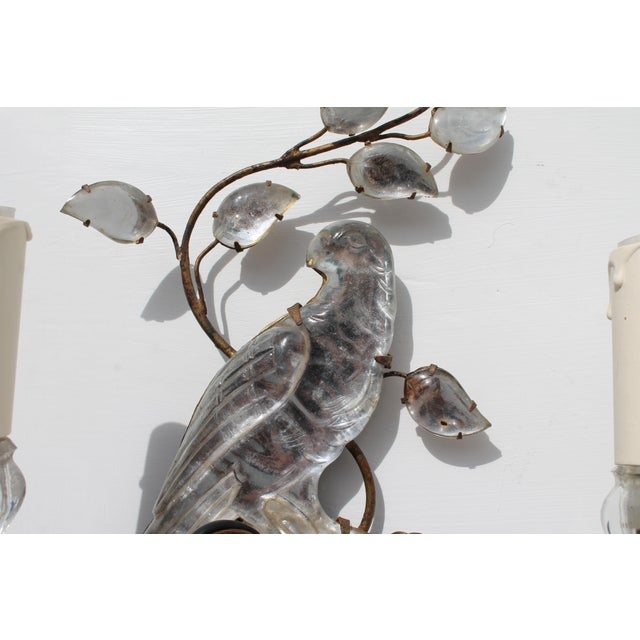 1920s French Art Deco C1920s Authentic Maison Bagues Bronze Framed Crystal Parrot Sconces For Sale - Image 5 of 11