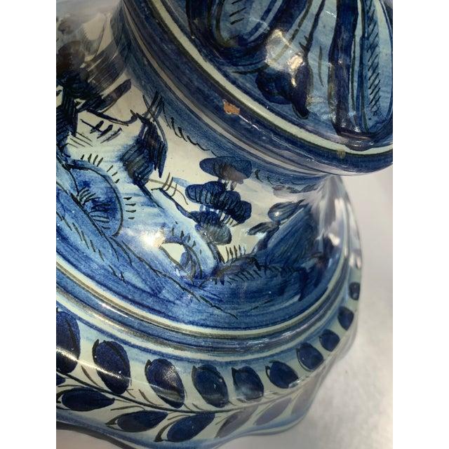 1800s Antique Cantagalli Italian Majolica Urn in Blue Tones For Sale - Image 9 of 11