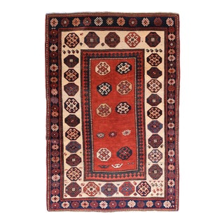 Antique Red Kazak Russian Area Rug For Sale