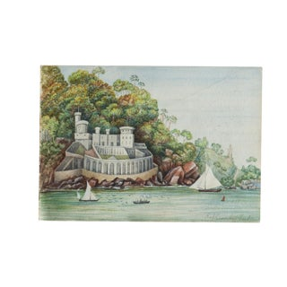 Antique Picklecombe Fort Watercolor Painting For Sale