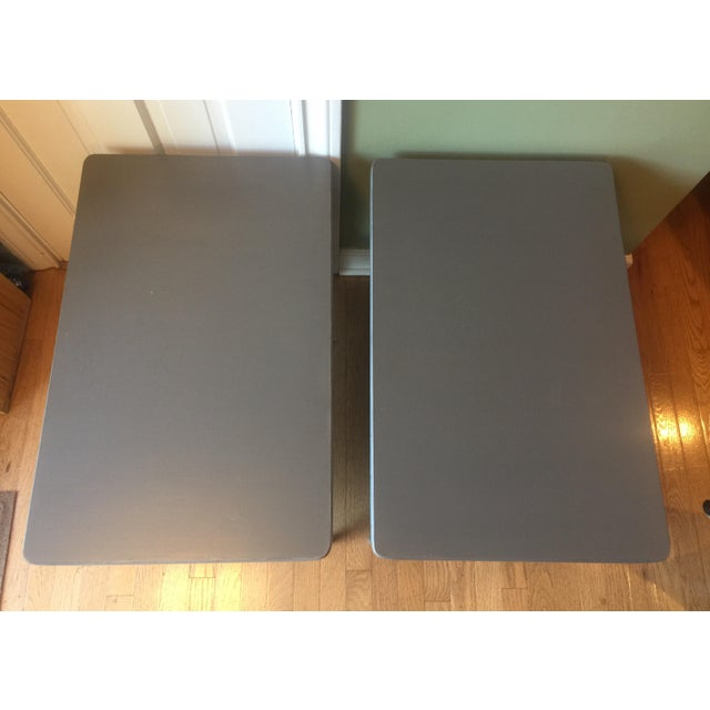 Mid-Century Gray & Silver End Tables - A Pair - Image 4 of 5