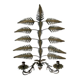 Brass Palm Leaves Candle Sconce