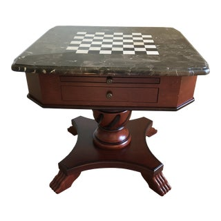 Vintage Stone Top Chess Card and Game Table For Sale