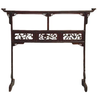 Antique Chinese Carved Peony Garment Rack For Sale