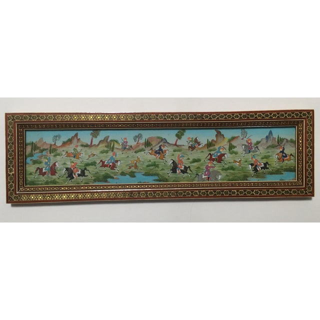 Late 20th Century Vintage Persian Painting of Battle Scene in Marquetry Frame For Sale - Image 5 of 5