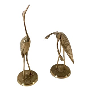 Mid Century Brass Cranes - a Pair For Sale