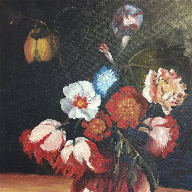 Vintage Floral Still Life Oil Painting - Image 5 of 10