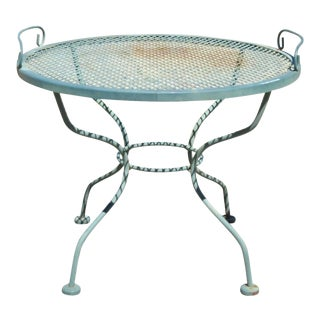 Meadowcraft Micro Mesh Wrought Iron Round Coffee Table With Serving Tray Top For Sale