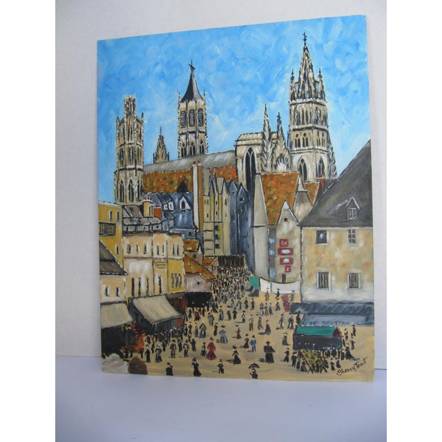 Vintage Painting of European Cathedral For Sale - Image 6 of 7