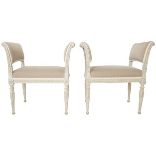 Swedish Gustavian Neoclassical Benches, Pair, Circa 1790 For Sale