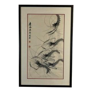 Sumi Ink Shrimp Painting - Framed For Sale