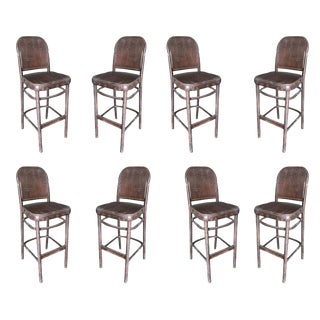 Thonet Inspired Bentwood Bar Stools - Set of 8 For Sale