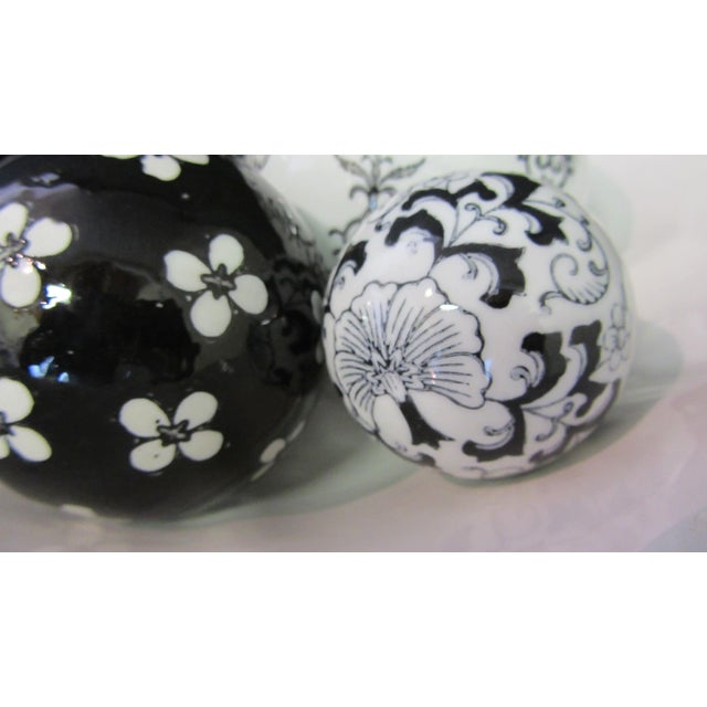 Boho Chic Scalloped Compote & Hand Painted Ceramic Orbs For Sale - Image 3 of 5