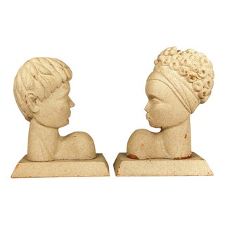 Mid-Century Modern Hawaiian Male and Female Bookends, Pair For Sale