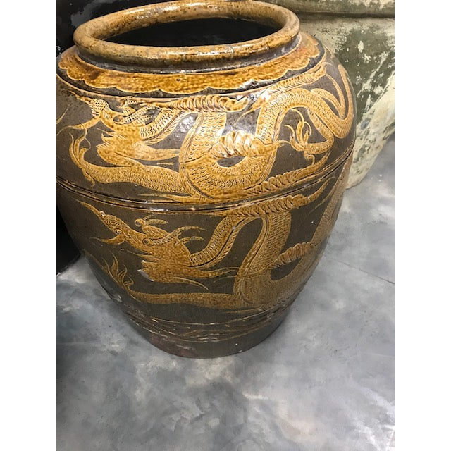 "Brown Antique Chinese Ceramic ""Dragon"" Pot For Sale - Image 8 of 9"