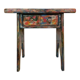 Industrial Bohemian Accent Table For Sale