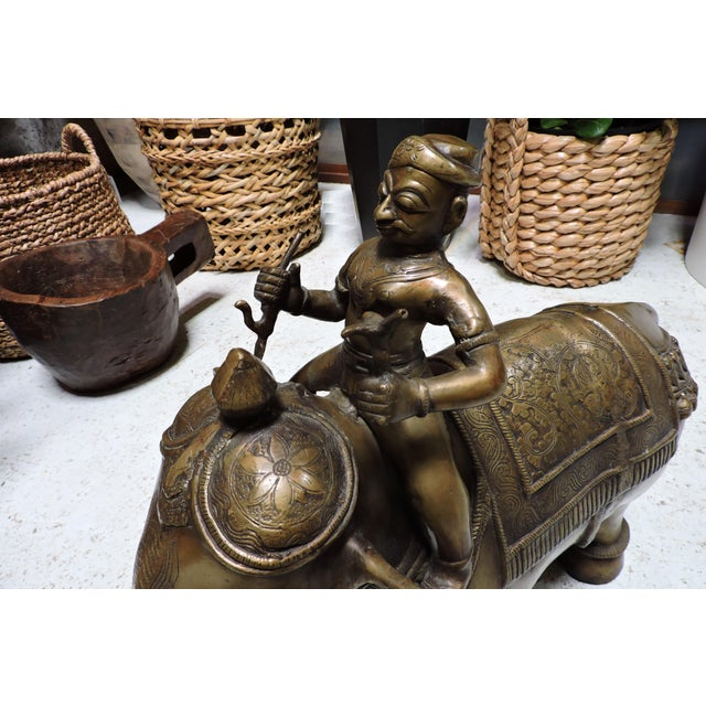 Late 20th Century Cast Bronze Indian Elephant With Rider For Sale - Image 5 of 7