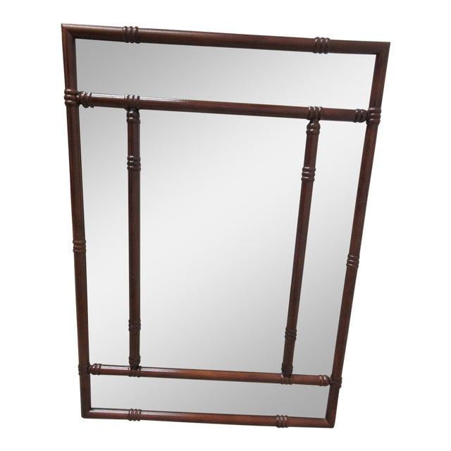 Bombay Company Mahogany Faux Bamboo Wall Mirror For Sale