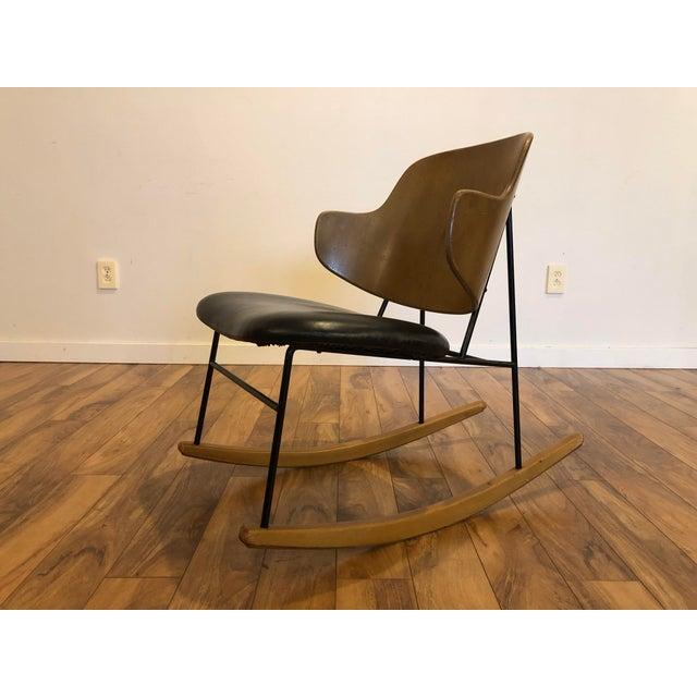 Metal Vintage Kofod Larsen Penguin Rocking Chair For Sale - Image 7 of 12