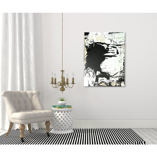 """Original Black and White Textural Painting """"0010"""" by Cole Altuzarra For Sale - Image 9 of 12"""