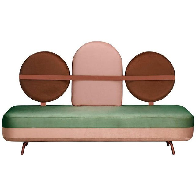 Jimi Sofa in Green and Pink Velvet and Upholstery For Sale - Image 4 of 4