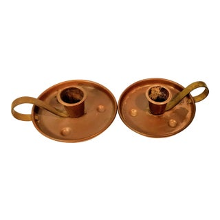 Pair of Vintage Coppercraft Guild Taunton Mass Copper Candlestick Holders For Sale