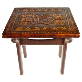 Antique Tooled Leather Top Side Accent Table For Sale