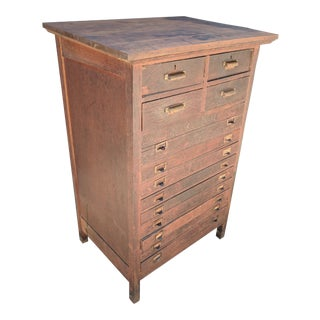 Vintage used filing and storage cabinets chairish vintage elkin furniture co industrial printers flat file wood storage cabinet malvernweather Gallery