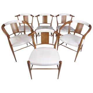 Set of Midcentury Leather Dining Chairs by Heritage Henredon For Sale