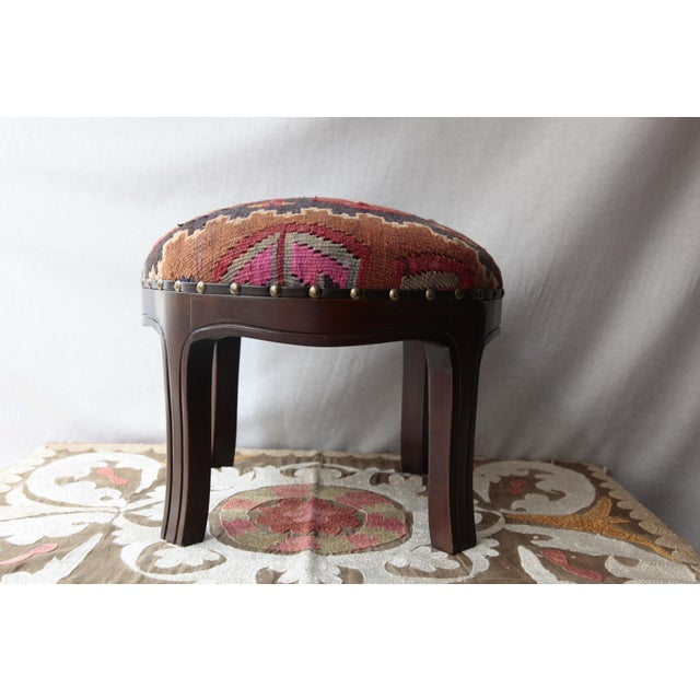 Traditional Modern Kilim Upholstery Footstool-Round Kilim Stool For Sale - Image 3 of 7