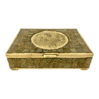 Vintage Gray Stone & Solid Brass Mexican Box For Sale