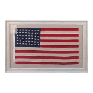 Early 20Th c 48 Star Framed Shps Flag in Custom Distressed Frame For Sale