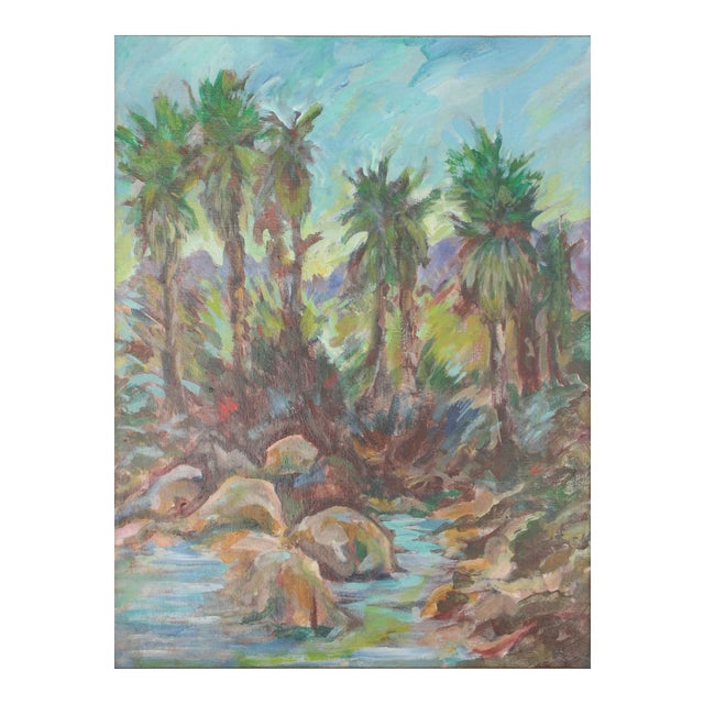 Vintage Original Lanscape of Palm Trees and River - Image 1 of 6