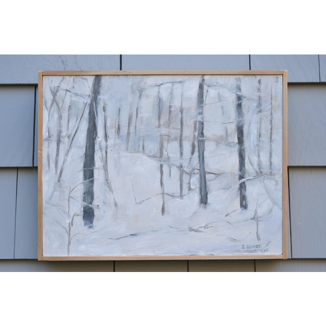 "Titled ""Snow Squall"". Getting caught in one deep in the woods on a hillside in Vermont. Painted in 2018, this acrylic on a..."