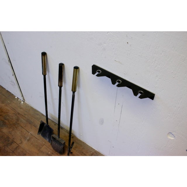 Mid-Century Modern Mid-Century Modern Wall Mounted Brass and Iron Fire Tools For Sale - Image 3 of 10