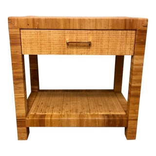 1960s Mid Century Coastal Woven Rattan One Drawer Nightstand For Sale