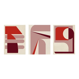 """""""Abstract Red Scale Graphic - Triptych Painting"""" Contemporary Acrylic Paintings - Set of 3 For Sale"""