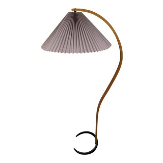 1970s Danish Bentwood Caprani Floor Lamp With Pleated Shade For Sale