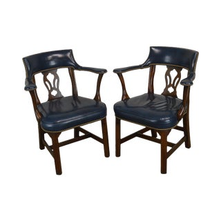 Chippendale Style Blue Leather Solid Cherry Frame Pair Office Armchairs For Sale